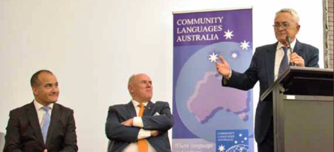 Community Languages Australia Public Meeting Left: Deputy Premier, Minister for Education the Hon, James Merlino MP Middle: Stefan Romaniw OAM, CEO Community Languages Australia Right: Tassos I. Douvartzides, President, Commmunity Languages Victoria, Chairman, Community Languages Australia